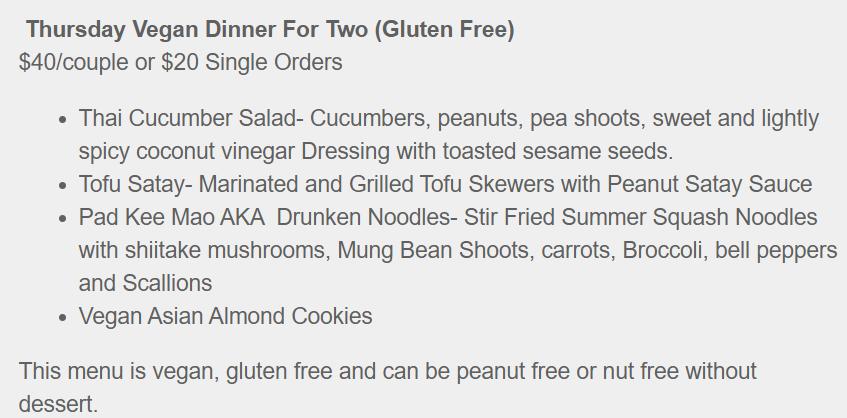 Thursday Vegan Dinner for Two (Gluten Free)